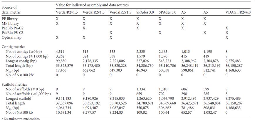 不同的组装方法对V. dahliae strain JR2 的基因组组装结果.png